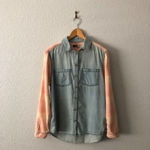 Urban Outfitters Chambray Pink Plaid Button Top